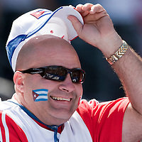 15 March 2009: A fan of Cuba cheers for his team against Japan during the 2009 World Baseball Classic Pool 1 game 1 at Petco Park in San Diego, California, USA. Japan wins 6-0 over Cuba.