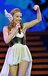 File photo dated 7/4/11 of Kylie Minogue on stage during the London leg of the Kylie Minogue: Aphrodite - Les Folies Tour 2011, at the London O2 Arena, south London. The pop star and actress turns 50 on Monday.