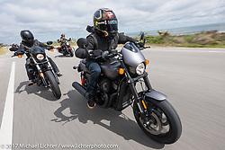 Anthony Paggio (back left) rides with his friend and custom bike builder Jesse Rooke on a new 2017 Harley-Davidson 750 Street Rod rides A1A near Flagler Beach during Daytona Beach Bike Week. FL. USA. Tuesday, March 14, 2017. Photography ©2017 Michael Lichter.