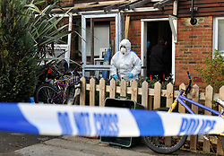 ©London News pictures...16/11/2010. A police officer at the scene. A 44-year-old man has been arrested on suspicion of murder today (Tues) after a woman's body was found at a property in Bracknell in Berkshire. Officers visited the home in Inchwood in Birch Hill on Monday afternoon after a phone call from the victim's family, raising concern for her welfare. Stephen Simpson/London News Pictures.