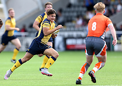Jordan Ainslie of Worcester Warriors runs at Tom Catterick of Newcastle Falcons - Mandatory by-line: Robbie Stephenson/JMP - 30/07/2016 - RUGBY - Kingston Park - Newcastle, England - Worcester Warriors v Newcastle Falcons - Singha Premiership 7s