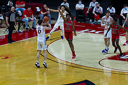 NORMAL, IL - February 27: Nate Heise shoots for 3 over defender Emon Washington during a college basketball game between the ISU Redbirds and the Northern Iowa Panthers on February 27 2021 at Redbird Arena in Normal, IL. (Photo by Alan Look)