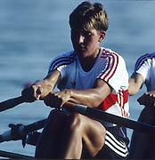 Banyoles, SPAIN, German Women's Double Sculls.. GER W2X   Gold Medalist. stroke Kathrin BORON. 1992 Olympic Regatta, Lake Banyoles, Barcelona, SPAIN.    [Mandatory Credit: Peter Spurrier: Intersport Images]