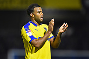 Tom Soares (19) of AFC Wimbledon applauds the travelling fans at full time after Wimbledon lost 2-0 to Bristol Rovers during the EFL Sky Bet League 1 match between Bristol Rovers and AFC Wimbledon at the Memorial Stadium, Bristol, England on 23 October 2018.