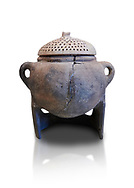 Hittite terra cotta cooking pot with perforated lid on a charcoal burner pot stand. Hittite Empire, Alaca Hoyuk, 1450 - 1200 BC. Çorum Archaeological Museum, Corum, Turkey. Against a white bacground. .<br />  <br /> If you prefer to buy from our ALAMY STOCK LIBRARY page at https://www.alamy.com/portfolio/paul-williams-funkystock/hittite-art-antiquities.html  - Alaca Hoyuk   into the LOWER SEARCH WITHIN GALLERY box. Refine search by adding background colour, place, museum etc<br /> <br /> Visit our HITTITE PHOTO COLLECTIONS for more photos to download or buy as wall art prints https://funkystock.photoshelter.com/gallery-collection/The-Hittites-Art-Artefacts-Antiquities-Historic-Sites-Pictures-Images-of/C0000NUBSMhSc3Oo
