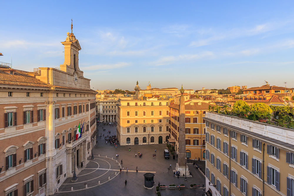 The Palazzo Montecitorio in Piazza di Montecitorio in Rome, Italy. The Chamber of Deputies sits in the Palazzo Montecitorio. Roman Emperor Augustus took an obelisk, which stands on the piazza, from Egypt.