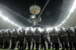 Police in riot gear stand inside the stadium during their the UEFA EURO 2012 Group A football match between Poland and Russia at National Stadium in Warsaw on June 12, 2012...Poland, Warsaw, June 12, 2012..Picture also available in RAW (NEF) or TIFF format on special request...For editorial use only. Any commercial or promotional use requires permission...Photo by © Adam Nurkiewicz / Mediasport