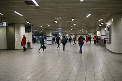 © Licensed to London News Pictures. 13/03/2020. London, UK. A nearly empty Kings Cross Station, as people are either working from home or not travelling on the underground. A tube driver has been tested positive of Coronavirus. Photo credit: Dinendra Haria/LNP