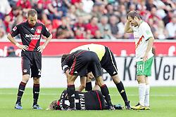 03.10.2010,  BayArena, Leverkusen, GER, 1. FBL, Bayer Leverkusen vs Werder Bremen, 7. Spieltag, im Bild: Sami Hyypiae (Leverkusen #4) ist verletzt am Boden. Daniel Jensen (Bremen #20) ist mit ihm zusammen geprallt  EXPA Pictures © 2010, PhotoCredit: EXPA/ nph/  Mueller+++++ ATTENTION - OUT OF GER +++++