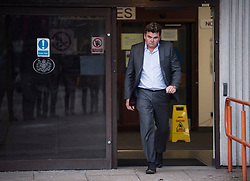 © Licensed to London News Pictures. 23/02/2018. Ilford, UK. Former BHS owner DOMINIC CHAPPELL leaves Barkingside Magistrates' Court in Ilford, London, following his sentence for not disclosing information to The Pensions Regulator. Chappell, who was charged with neglecting to hand over vital documents relating to the purchase of BHS, paid Sir Philip Green for £1 for the retail store in 2015. It subsequently crashed, with 11,000 jobs lost, leaving a pensions black hole of over £570m. Photo credit: Ben Cawthra/LNP