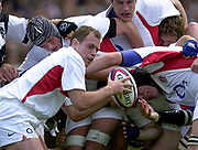 Twickenham. England. RFU Stadium, Surrey. <br /> Photo Peter Spurrier25/05/2003<br /> 2003 - Rugby - England v Barbarians.<br /> Kryan Bracken works behind the scrum         [Mandatory Credit: Peter SPURRIER/Intersport Images]