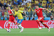 Neymar of Brazil and Sergej Milinkovic-Savic of Serbia during the 2018 FIFA World Cup Russia, Group E football match between Erbia and Brazil on June 27, 2018 at Spartak Stadium in Moscow, Russia - Photo Tarso Sarraf / FramePhoto / ProSportsImages / DPPI