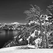 Crater Lake South Rim Overlook Towards Mt. Scott - HDR - Black & White