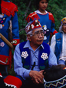 Tlingit elder and chief, Oscar Frank, Sr., Fourth of July, 1991, Yakutat, Alaska.  (Please note:  Licensing of this photograph requires a small extra fee be paid that goes to help support the St. Elias Dancers.  Contact Fred Hirschmann for information - 907-745-6616)