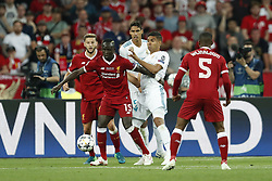 (L-R) Adam Lallana of Liverpool FC, Sadio Mane of Liverpool FC, Raphael Varane of Real Madrid, Casemiro of Real Madrid, Georginio Wijnaldum of Liverpool FC during the UEFA Champions League final between Real Madrid and Liverpool on May 26, 2018 at NSC Olimpiyskiy Stadium in Kyiv, Ukraine
