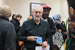 "Finsbury Park Mosque, London, February 7th 2016. Labour leader and local MP Jeremy Corbyn holds an English copy of the Qur'an during a visit to Finsbury Park Mosque as part of a Visit My Mosque initiative by the Muslim Council of Britain to show non-Muslims ""how Muslims connect to God, connect to communities and to neighbours around them"".<br /> . ///FOR LICENCING CONTACT: paul@pauldaveycreative.co.uk TEL:+44 (0) 7966 016 296 or +44 (0) 20 8969 6875. ©2015 Paul R Davey. All rights reserved."