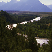 """The Snake River winds toward """"The Grand Teton"""" from the location where Ansel Adams took his famous photograph"""