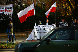 November 2, 2018 - Warsaw, Poland - Far right activists protest in demand on reparations for damages caused by German army at World War 2 during the official visit of German government to Poland. (Credit Image: © Madeleine Lenz/Pacific Press via ZUMA Wire)