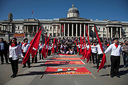 Demonstration by Turkish organisation of workers to mark the annual May Day or Labour Day. Groups from all nationalities from around the World, living in London gathered to march to a rally in central London, UK.