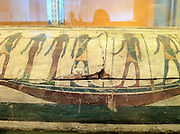 Lid from the coffin of Tawahor. 26th Dynasty (664-525 BC. Tawahor was a singer . The Solar boat with the sun god Ra is depicted.