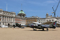 Douglas DC3 Dakota, Hawker Siddeley Harrier GR3, RAF100 Aircraft Tour London, Horse Guards, Whitehall, Westminster, London, UK, 01 July 2018, Photo by Richard Goldschmidt, To celebrate the Centenary of the Royal Air force The RAF100 Aircraft Tour is a public display of iconic RAF aircraft in city locations around the country.