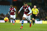 Leandro Bacuna of Aston Villa in action.  Barclays Premier league match, Aston Villa v Leicester city at Villa Park in Birmingham, The Midlands on Saturday 16th January 2016.<br /> pic by Andrew Orchard, Andrew Orchard sports photography.