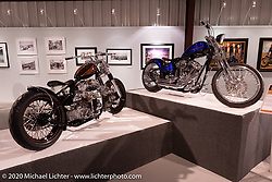 Steve Broyles' Stevenson's Cycle's Twist-Her custom Harley-Davidson Evo Bobber (L) and Don Hotop's Auction Special custom in the Heavy Mettle - Motorcycles and Art with Moxie exhibition at the Sturgis Buffalo Chip. This is the 2020 iteration of the annual Motorcycles as Art series curated and produced by Michael Lichter. Sturgis, SD, USA. Friday, August 7, 2020. Photography ©2020 Michael Lichter.