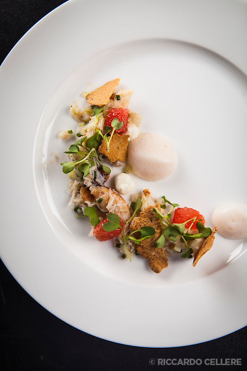 Visa Infinite Wine Country Experiences Exclusive Dinner at Stratus Vineyard with Chef David Hawksworth, and Master Sommelier John Szabo. Dungeness crab, grapefruit, tarragon, black pepper, crème fraiche.