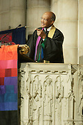 December 11, 2013-New York, NY:  Rev. Dr. James A. Forbes, Jr, Senior Minister Emeritus attends the Nelson Mandela Commemorative Memorial service held at the Riverside Church on December 11, 2013 in New York City. Nelson Rolihlahla Mandela was inaugurated as the first black President of a democratic South Africa on May 10, 1994 bringing democracy and ending the oppressive rule of apartheid . (Terrence Jennings)