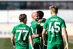 Savic Stefan of NK Olimpija Ljubljana and Kidric Rok of NK Olimpija Ljubljana and Brkic Goran of NK Olimpija Ljubljana  football match between NK Olimpija Ljubljana and NK Domžale in 24rd Round of Prva liga Telekom Slovenije 2018/19, on March 30, 2019 in Sports park Domzale, Slovenia Photo by Matic Ritonja / Sportida