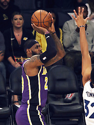 November 7, 2018 - Los Angeles, California, U.S - LeBron James #23 of the Los Angeles Lakers takes a shot during their NBA game with the Minneapolis Timberwolves on Wednesday November 7, 2018 at the Staples Center in Los Angeles, California. Lakers defeat Timberwolves, 114-110. (Credit Image: © Prensa Internacional via ZUMA Wire)