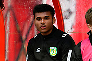 Marcus Barnes (19) of Yeovil Town on the substitutes bench during the EFL Sky Bet League 2 match between Swindon Town and Yeovil Town at the County Ground, Swindon, England on 10 April 2018. Picture by Graham Hunt.
