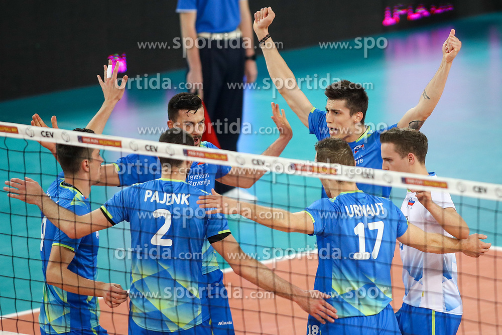 Players of Slovenia celebrate during volleyball match between National teams of Slovenia and Belgium in 2nd Round of 2018 FIVB Volleyball Men's World Championship qualification, on May 28, 2017 in Arena Stozice, Ljubljana, Slovenia. Photo by Morgan Kristan / Sportida