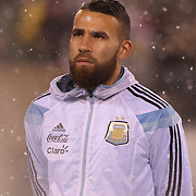 Nicolas Otamendi, Argentina, before the Argentina Vs Ecuador International friendly football match at MetLife Stadium, New Jersey. USA. 31st march 2015. Photo Tim Clayton