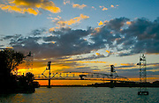 Burlington Bridge, Delaware River, sunset, Burlington, NJ