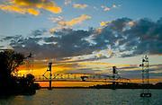 Burlington Bridge, Delaware River, sunset, Burlington, NJ