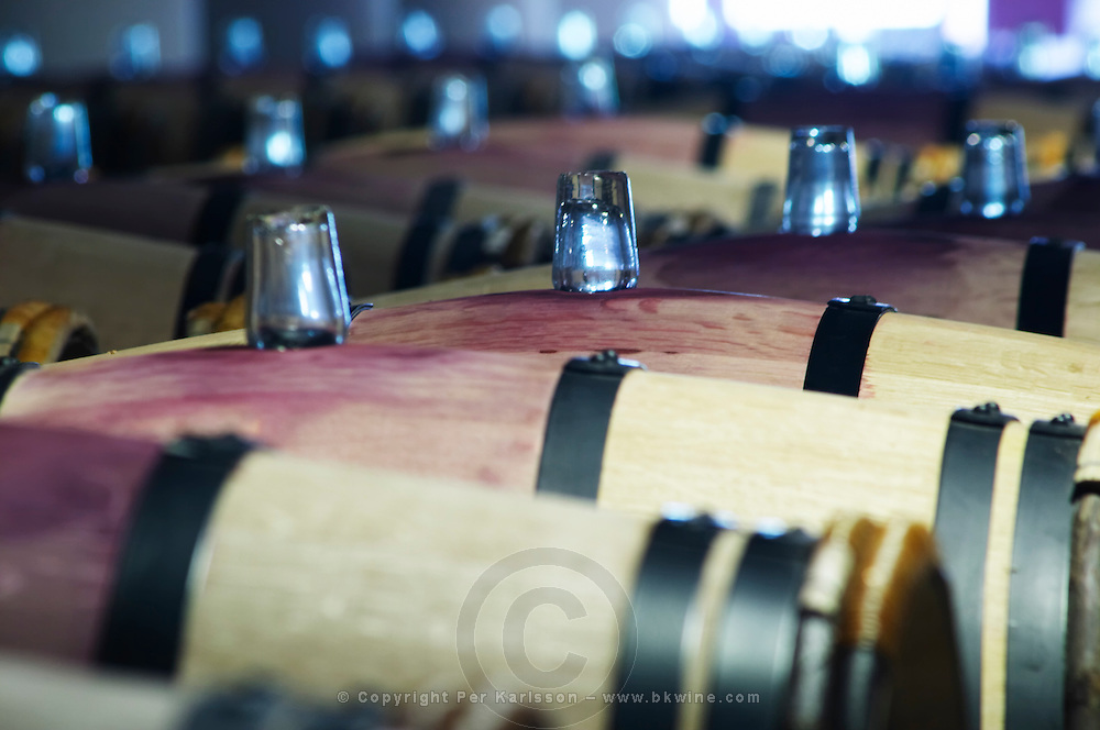 barrel hoops glass bungs chateau margaux medoc bordeaux france