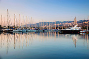 Israel, Haifa, The Kishon yacht Harbour at dawn
