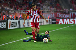 September 20, 2018 - Piraeus, Attiki, Greece - Omar Elabdellaoui (no 14) of Olympiacos pass from Cristian Tello (no 11) of Real Betis. (Credit Image: © Dimitrios Karvountzis/Pacific Press via ZUMA Wire)