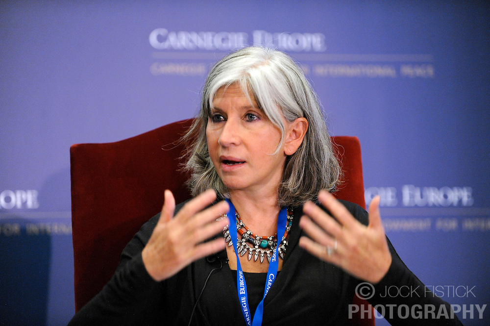 """BRUSSELS, BELGIUM - OCTOBER 2 - 3, 2008 - .Laurence Tubiana, speaks during the Carnegie Endowment for International Peace - New Vision Conference: """"Post-Bush America And The World: Can The Gap Be Closed?"""" (Photo ©Jock Fistick)"""