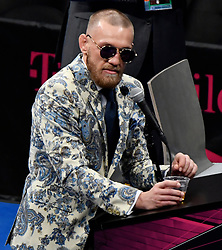 Aug 26,2017.  Las Vegas NV. Conor McGregor talks at a boxing PC after going 10 rounds with Floyd Mayweather Jr Saturday at the T-Mobile arena in Las Vegas.  Floyd Mayweather Jr. took the win by TKO as the fight was stop in the 10th round. This was Floyd's last fight ending it at 50-0 wins..Photos by Gene Blevins/LA DailyNews/SCNG. (Credit Image: © Gene Blevins via ZUMA Wire)