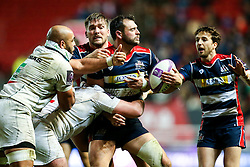 Luke Arscott of Bristol Rugby is tackled - Rogan Thomson/JMP - 11/12/2016 - RUGBY UNION - Ashton Gate Stadium - Bristol, England - Bristol Rugby v Pau - European Rugby Challenge Cup.