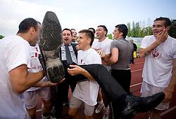 at qualification football match for 1st league between NK Triglav Gorenjska and NK Interblock on May 30, 2010, in Sportni center Kranj, Slovenia. Triglav defeated Interblock 3-0 and qualified for Slovenian First league PrvaLiga. (Photo by Vid Ponikvar / Sportida)