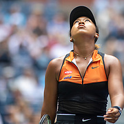 2019 US Open Tennis Tournament- Day Two.  Naomi Osaka of Japan reacts during her match against Anna Blinkova of Russia in the Women's Singles Round One match on Arthur Ashe Stadium at the 2019 US Open Tennis Tournament at the USTA Billie Jean King National Tennis Center on August 27th, 2019 in Flushing, Queens, New York City.  (Photo by Tim Clayton/Corbis via Getty Images)