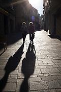 Shadows and Sant Cugat del Valles, Barcelona, Catalonia, Spain