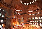 TURKEY, ISTANBUL, OTTOMAN Blue Mosque; the prayer hall