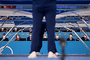 Judges take their seats for the men's qualification of the Trampoline Gymnastics event during Tokyo 2020 Olympic Games at Ariake Gymnastics centre in Tokyo, on July 31, 2021. (Photo by Yuki IWAMURA / AFP)
