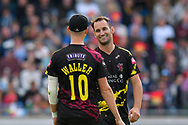 Wicket - Lewis Gregory of Somerset is congratulated by Max Waller of Somerset on taking the wicket of Chris Jordan of Sussex during the Vitality T20 Finals Day semi final 2018 match between Sussex Sharks and Somerset County Cricket Club at Edgbaston, Birmingham, United Kingdom on 15 September 2018.