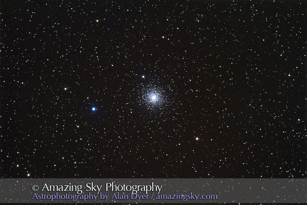 M15 globular cluster in Pegasus. A 5 x 8-minute image stack with the Canon 7D at ISO 800 and 130mm Astro-Physics refractor at f/6, on AP 600E mount and SG4 autoguider.