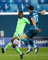 SAINT PETERSBURG, RUSSIA - NOVEMBER 04: Jean-Daniel Akpa Akpro of SS Lazio and Magomed Ozdoyev of Zenit St Petersburgduring the UEFA Champions League Group F stage match between Zenit St. Petersburg and SS Lazio at Gazprom Arena on November 4, 2020 in Saint Petersburg, Russia. (Photo by MB Media)
